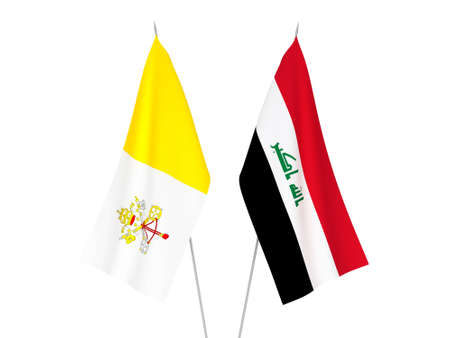 National fabric flags of Iraq and Vatican isolated on white background. 3d rendering illustration.