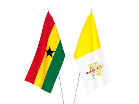National fabric flags of Ghana and Vatican isolated on white background. 3d rendering illustration.