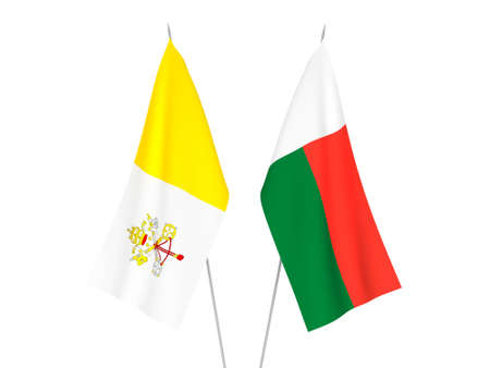 National fabric flags of Madagascar and Vatican isolated on white background. 3d rendering illustration.