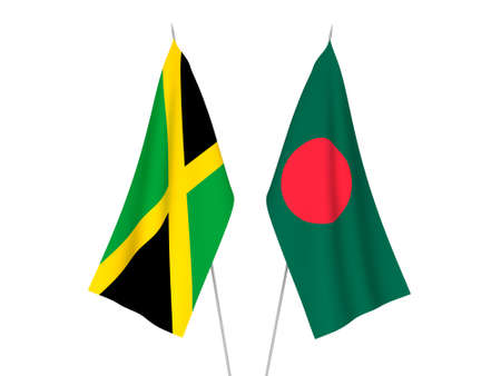 National fabric flags of Bangladesh and Jamaica isolated on white background. 3d rendering illustration. Foto de archivo