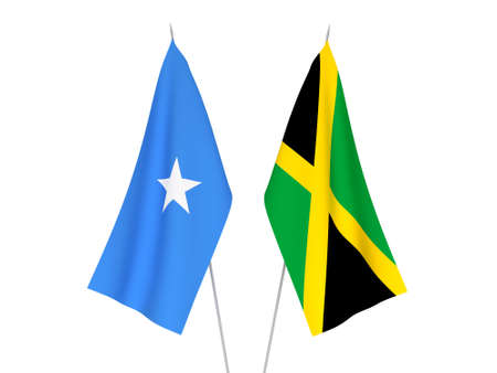 National fabric flags of Somalia and Jamaica isolated on white background. 3d rendering illustration.