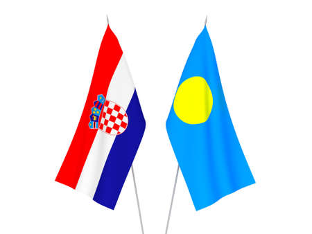 National fabric flags of Croatia and Palau isolated on white background. 3d rendering illustration.
