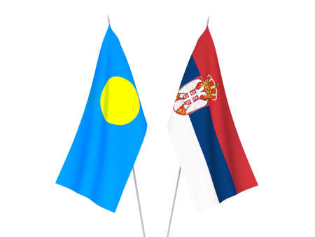 National fabric flags of Serbia and Palau isolated on white background. 3d rendering illustration.
