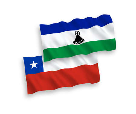 National vector fabric wave flags of Lesotho and Chile isolated on white background. 1 to 2 proportion. Vectores
