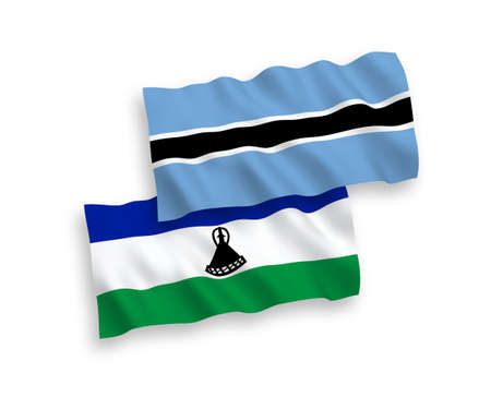 National vector fabric wave flags of Lesotho and Botswana isolated on white background. 1 to 2 proportion. Vectores