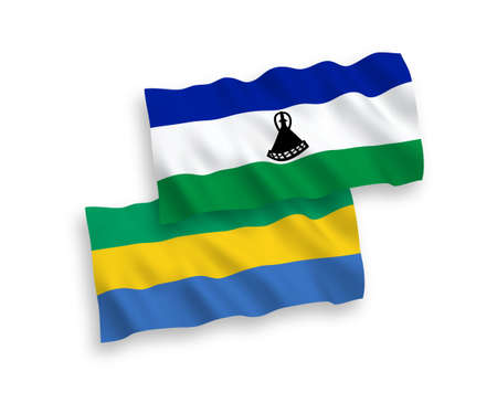 National vector fabric wave flags of Lesotho and Gabon isolated on white background. 1 to 2 proportion.