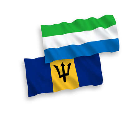 National vector fabric wave flags of Barbados and Sierra Leone isolated on white background. 1 to 2 proportion. Vectores