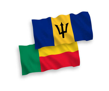 National vector fabric wave flags of Barbados and Benin isolated on white background. 1 to 2 proportion. Vectores