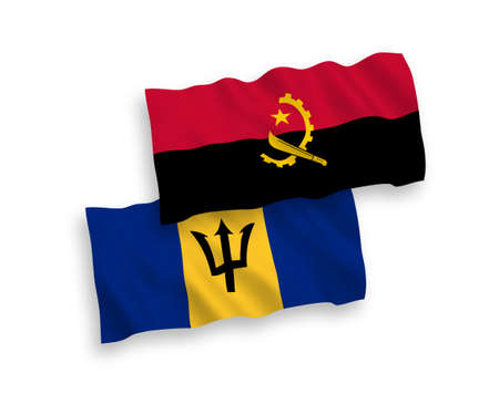 National vector fabric wave flags of Barbados and Angola isolated on white background. 1 to 2 proportion.