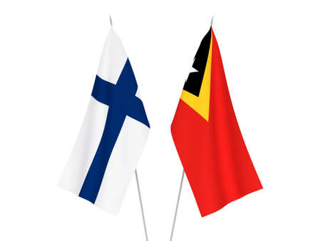 National fabric flags of East Timor and Finland isolated on white background. 3d rendering illustration. Foto de archivo