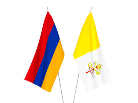 National fabric flags of Armenia and Vatican isolated on white background. 3d rendering illustration. Foto de archivo