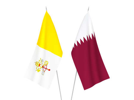 National fabric flags of Qatar and Vatican isolated on white background. 3d rendering illustration.
