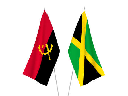 National fabric flags of Angola and Jamaica isolated on white background. 3d rendering illustration.