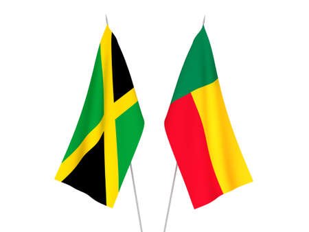 National fabric flags of Benin and Jamaica isolated on white background. 3d rendering illustration.