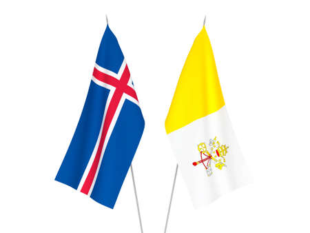 National fabric flags of Iceland and Vatican isolated on white background. 3d rendering illustration.
