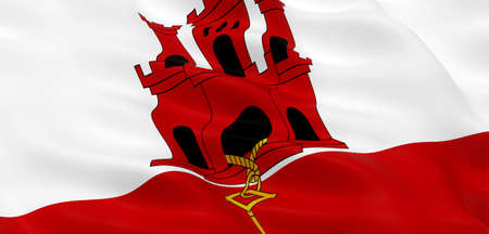 National Fabric Wave Closeup Flag of Gibraltar Waving in the Wind. 3d rendering illustration.