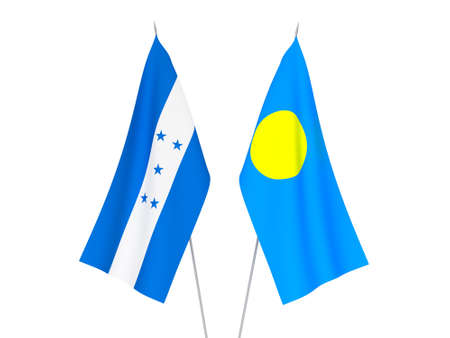 National fabric flags of Honduras and Palau isolated on white background. 3d rendering illustration.