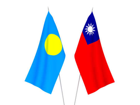 National fabric flags of Taiwan and Palau isolated on white background. 3d rendering illustration.