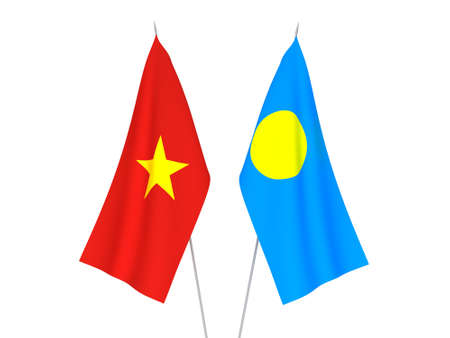 National fabric flags of Vietnam and Palau isolated on white background. 3d rendering illustration.