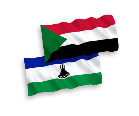 National vector fabric wave flags of Lesotho and Sudan isolated on white background. 1 to 2 proportion.
