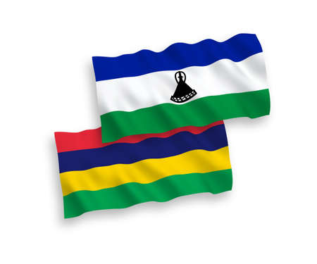 National vector fabric wave flags of Lesotho and Republic of Mauritius isolated on white background. 1 to 2 proportion.