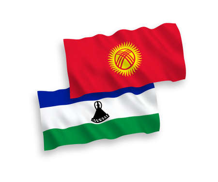 National vector fabric wave flags of Lesotho and Kyrgyzstan isolated on white background. 1 to 2 proportion. Vectores