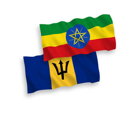 National vector fabric wave flags of Barbados and Ethiopia isolated on white background. 1 to 2 proportion. Vectores