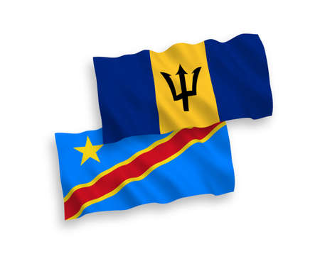 National vector fabric wave flags of Barbados and Democratic Republic of the Congo isolated on white background. 1 to 2 proportion.