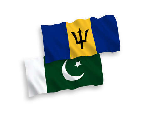 National vector fabric wave flags of Barbados and Pakistan isolated on white background. 1 to 2 proportion. Vectores