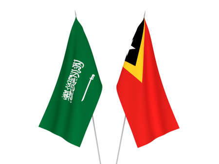 National fabric flags of Saudi Arabia and East Timor isolated on white background. 3d rendering illustration.