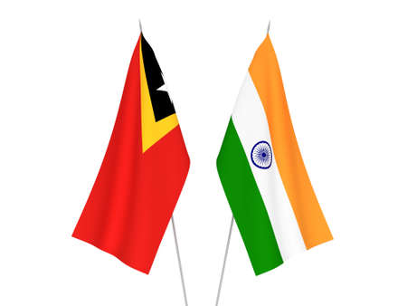 National fabric flags of India and East Timor isolated on white background. 3d rendering illustration.