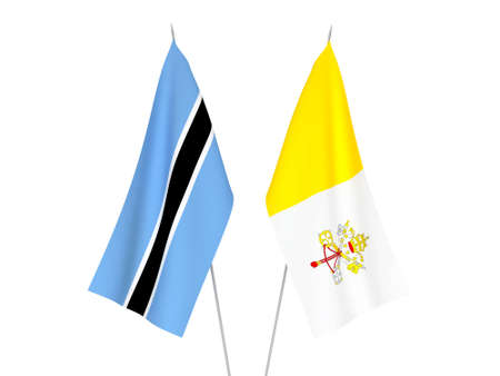National fabric flags of Botswana and Vatican isolated on white background. 3d rendering illustration.