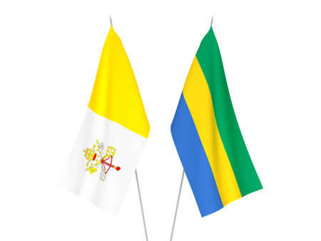 National fabric flags of Gabon and Vatican isolated on white background. 3d rendering illustration.