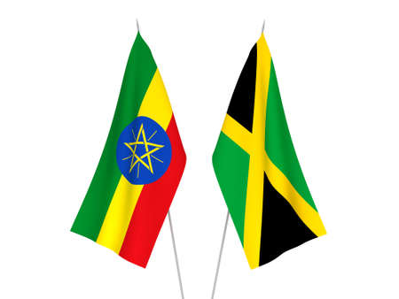 National fabric flags of Ethiopia and Jamaica isolated on white background. 3d rendering illustration.