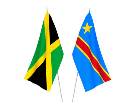 National fabric flags of Democratic Republic of the Congo and Jamaica isolated on white background. 3d rendering illustration.