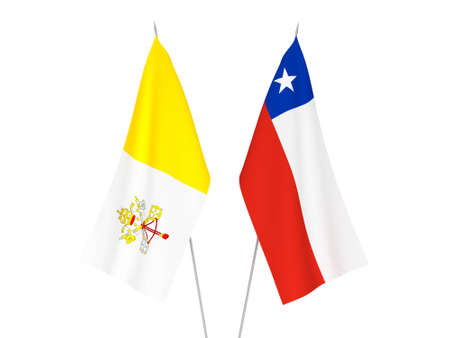 National fabric flags of Chile and Vatican isolated on white background. 3d rendering illustration.