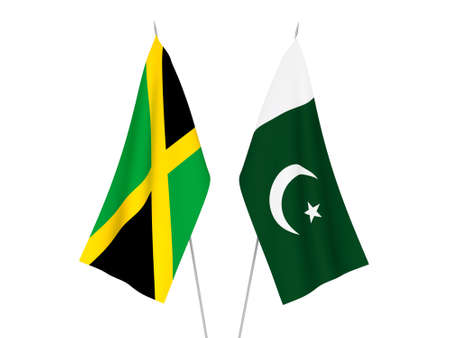 National fabric flags of Pakistan and Jamaica isolated on white background. 3d rendering illustration.