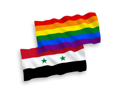 National vector fabric wave flags of Rainbow gay pride and Syria isolated on white background. 1 to 2 proportion. Vectores