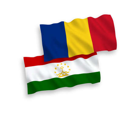 National vector fabric wave flags of Romania and Tajikistan isolated on white background. 1 to 2 proportion.