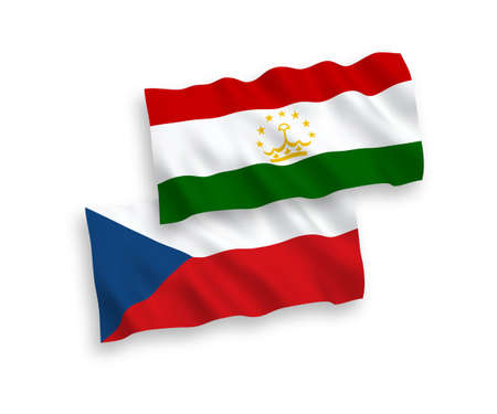 National vector fabric wave flags of Czech Republic and Tajikistan isolated on white background. 1 to 2 proportion. 向量圖像