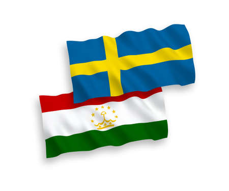 National vector fabric wave flags of Sweden and Tajikistan isolated on white background. 1 to 2 proportion. Vectores