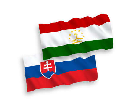 National vector fabric wave flags of Slovakia and Tajikistan isolated on white background. 1 to 2 proportion.