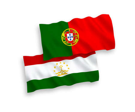 National vector fabric wave flags of Portugal and Tajikistan isolated on white background. 1 to 2 proportion.