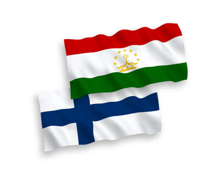 National vector fabric wave flags of Finland and Tajikistan isolated on white background. 1 to 2 proportion. Vectores