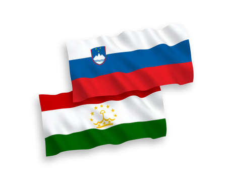 National vector fabric wave flags of Slovenia and Tajikistan isolated on white background. 1 to 2 proportion. Vectores