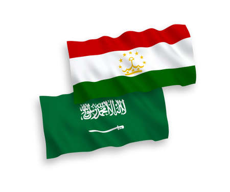 National vector fabric wave flags of Saudi Arabia and Tajikistan isolated on white background. 1 to 2 proportion. Vectores