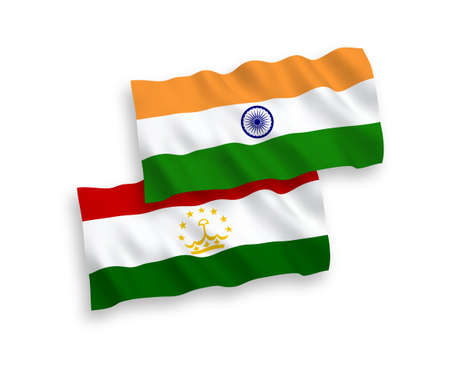 National vector fabric wave flags of India and Tajikistan isolated on white background. 1 to 2 proportion.