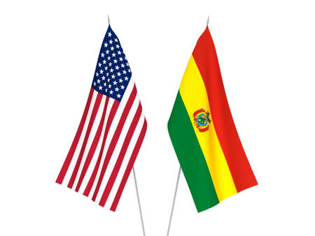 National fabric flags of America and Bolivia isolated on white background. 3d rendering illustration.