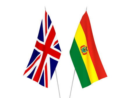 National fabric flags of Great Britain and Bolivia isolated on white background. 3d rendering illustration.