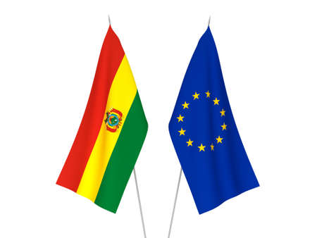 National fabric flags of European Union and Bolivia isolated on white background. 3d rendering illustration.